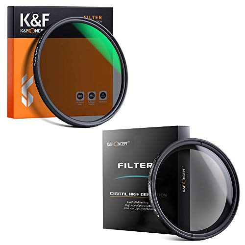 K&F Concept 67mm ND Fader Variable Neutral Density Adjustable ND Filter ND2 to ND400& K&F Concept 67MM Circular Polarizer Filter HD 18 Layer Super Slim Multi Coated CPL