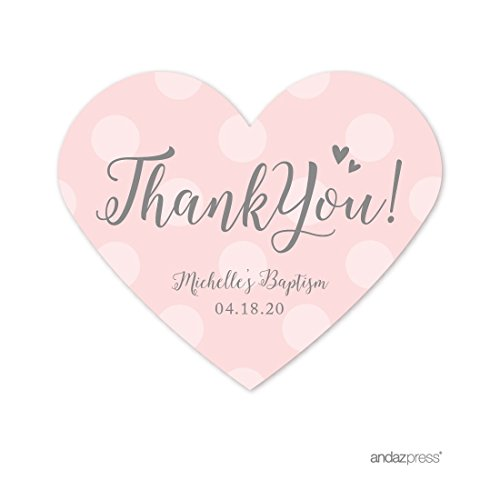 Andaz Press Blush Pink and Gray Baby Girl Baptism Collection, Personalized Mini Heart Label Stickers, Thank You, 75-Pack, Custom Name