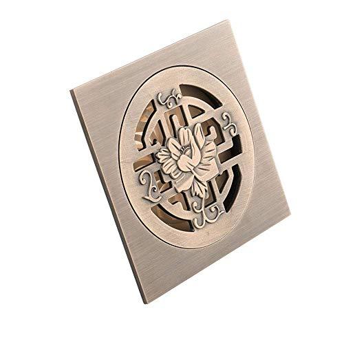 Dreno de piso com tampa removível Drenagem de piso quadrado banheiro circular grande fluxo imitação de bronze verde drenagem de piso Dreno de chuveiro com porta de resíduos (cor: metálico, t