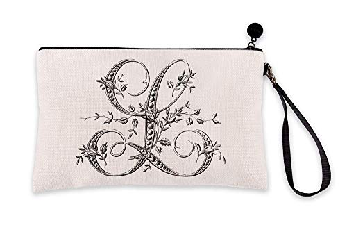 Di Lewis Personalized Makeup Bag for Women – Letter L French Monogram - Small Travel Organizer Toiletry Cosmetic Pouch – Best for Bridal, Bridesmaid, Teacher Gifts – 6x9 in