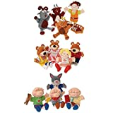 Constructive Playthings 13 pc. Classic Storybook Puppet Sets Featuring Goldilocks and The Three Bears, Three Billy Goats Gruff and The Three Little Pigs