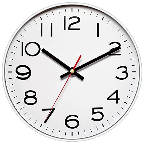 Orologio da parete da 30 cm con cornice in metallo e vetro non ticchettio, orologio da parete al quarzo, design moderno al quarzo, decorazione per interni/cucina (argento)