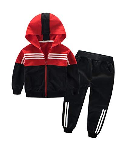 NABER - Tuta sportiva casual per bambini, con cerniera, da 4 a 13 anni, Rosso, 7-8 Anni