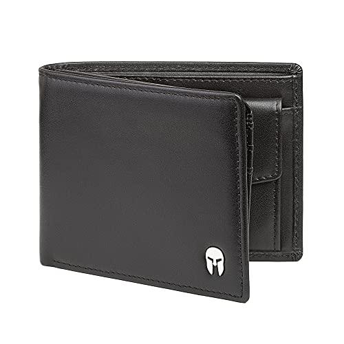 SPARTANO Portafoglio da Uomo in Vera Pelle con Protezione RFID, Portamonete, 11 Tasche per Carte di Credito, 2 x Banconote, 1 x Patente, 3 x Biglietti da Visita - ZEUS