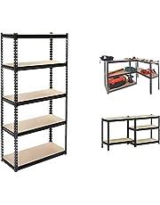 NORTACK 5 Shelf Rack Storage Organizer 86.5 X 35.5 X 183 cm in Black
