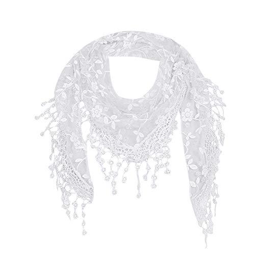 YEBIRAL Heißer Verkauf Damen Schal Lace Frauen Accessoires Tücher Halstuch Dreieck Schals 15 Farben(Weiß)