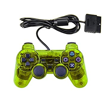PS2 Wired Controller Double Shock Dual Vibration Twin Shock Gamepad for Sony Playstation 2 Yellow