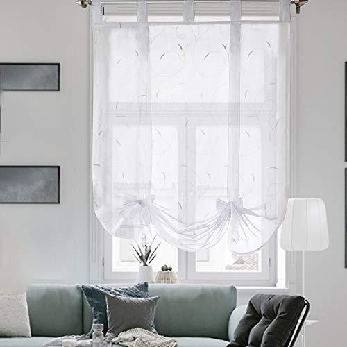 i@HOME Raffrollo ohne Bohren Voile Transparent mit Stickerei Raffgardinen mit Schlaufen Fenstervorhang Scheibengardinen Rollos für Fenster (Weiß,120*140cm)
