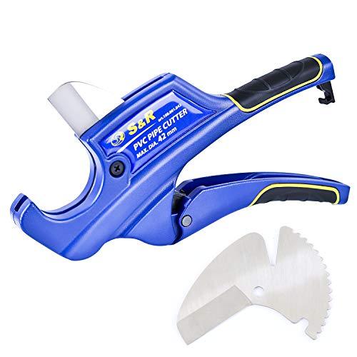 S&R Cortatubos con 2 cuchillas, Cizallas de trinquete para tubos de plástico y PVC, CPVC, PE-X, PE, PP-R, hasta 42 mm (1 5/8 pulgadas)