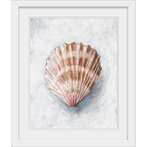 GREATBIGCANVAS White Shell Study IV White Framed Wall Art Print, Seashell Artwork