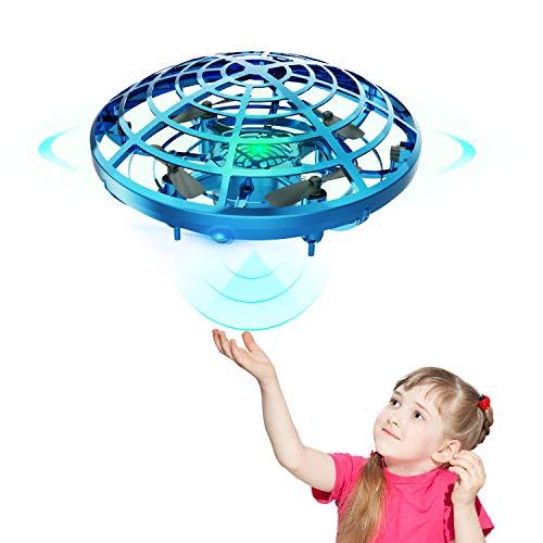 DEERC ドローン こども向け おもちゃ ラジコン ヘリコプター ミニドローン ジェスチャー制御 ハンドコントロール 五つのセンサーが搭載 360度回転 自動回避障害機能 自動ホバリング 2段階スピード調整 LEDライト付き プレゼント 贈り物 (青)