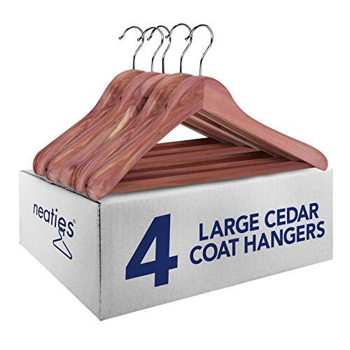 Neaties American Red Cedar 2 Large Coat Hangers Contoured with Flat Bar, 4pk