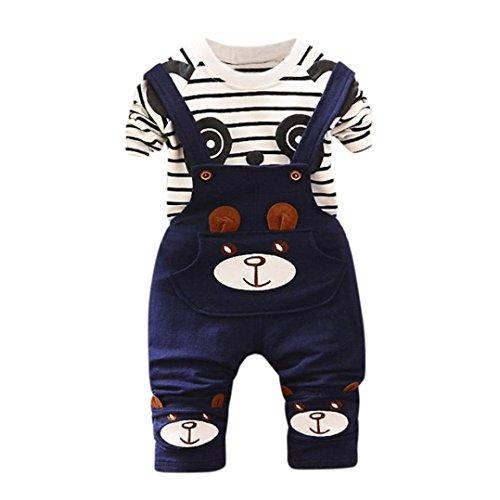 K-youth Conjunto para bebé niño, Rayas Camiseta de Manga Corta Ropa Bebé Niño Verano Caballero T-Shirt Tops y Pantalones Petos Conjunto Bebé Niño Chico Ropa Bebe Recién Nacido (Azul, 18-24 Meses)