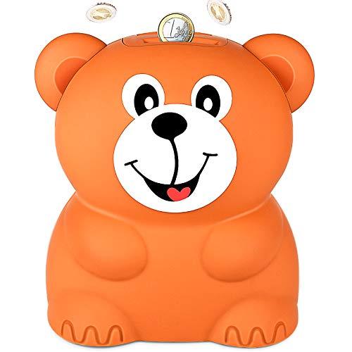LarmTek Parschwein Groß,Digitale Spardose mit Automatischer Zählung,Die Eine Gute Spargewohnheit Bildet,Spardose mit Zählwerk als Beste Wahl für Mutter und Lehrerin ,Braunbär