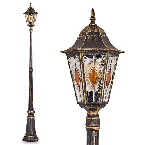 Nexos Trading Antibes - Lámpara de pie para exteriores (aluminio fundido, con cristales de cristal transparente, 210 cm, casquillo E27, máx. 60 W), diseño retro, color marrón y dorado