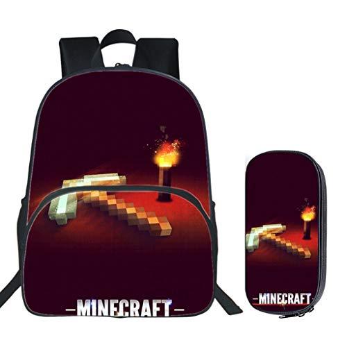 WHYDIANPUJunior Mochila para niños 3D Minecraft Primaria y Secundaria Descompresión y Reducción de la Carga Mochila Escolar Bolsa de Almuerzo Bolsa de Mensajero de Gran Capacidad