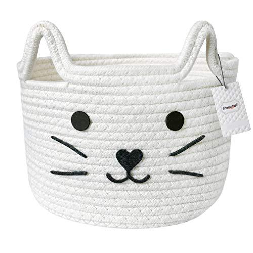 Inwagui Baumwolle Seil Aufbewahrungskorb Faltbar Kinderzimmer Aufbewahrungsbox Baby Spielzeug Organizer Windeltasche Katzenmuster Dekorativer Korb - Weiß