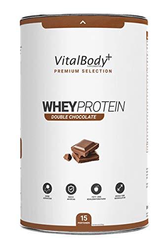 VitalBody+ Premium Whey Protein Pulver, 100 Portionen, Schokolade, Eiweißpulver zum Muskelaufbau mit hohem BCAA-Gehalt & Low Carb - Deutsche Premium Qualität!