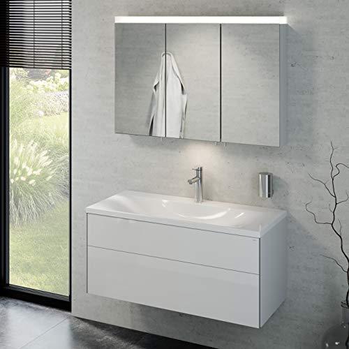 Keuco Badmöbelset mit Waschtisch und Spiegelschrank, Waschbeckenunterschrank mit Frontauszug, LED Spiegelschrank dimmbar, Badezimmermöbel Set mit Waschbecken, 3 Türen, Breite 100cm Royal Reflex