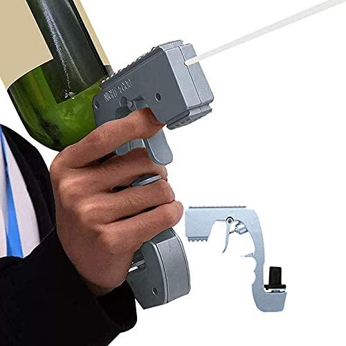 Bubbly Blaster - Pistola de champán, rociador de burbujas y blaster, diseño de botella de vino, diseño de botella de vino y expulsor de cerveza para fiestas, herramienta de Oktoberfest, color plateado