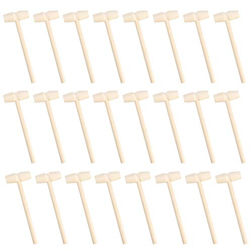 Hosfairy 24Pcs Miniature Wooden Hammer Small Mallet Pounding Tool for DIY Handmade Valentine's Day Birthday Party Tool Educational Tool