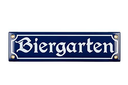 Sosenco Biergarten Schild - 8x30 cm - Keramik Emaille - Wetterfest - Oktoberfest Schild – Deko Blechschild – Emailleschild – Emailschild (Blau)