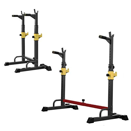 GJXJY Soporte Sentadilla Bulgara, Barra Pesas Estante Rack Musculación Squat Rack Jaula Musculacion Bastidor Levantamiento Pesas, Carga 250 Kg, Altura Regulable