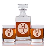 Stacked Monogram Circle Personalized Engraved Decanter and Rock Glass Set (3 pcs)