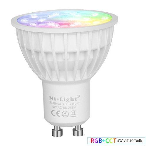 Mi-Light LED-Spots und Fernbedienung für kabellose Steuerung, 2,4GHz, RF, Touch-Panel, 4W, Farbwechsel-LEDs, GU10, voll dimmbar von Warmweiß 2700K bis Kaltweiß 6500K, CCT, gu10, 4.0 wattsW