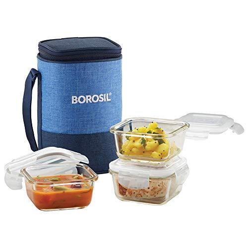 Borosil - Prime Borosilicate Glass Lunch Box Set of 3, 320 ml, Square, Microwave Safe Office Tiffin, Blue, Transparent