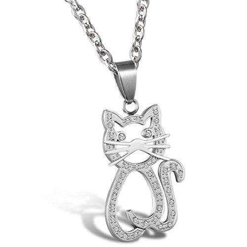 Cupimatch Collar Mujer Acero Inoxidable Colgante Gato con Circonitas Moda Buen Regalo para Mujer Niña Joyería de Moda