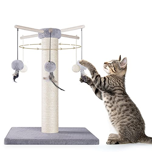 CATROMANCE Cat Scratching Post, 50cm 19.7  Sisal Scratcher Post for Indoor Cats, 360° Rotatable Cat Scratch Pole with Double Hanging Ball, Cat Claw Scratcher for Interactive Play, Grey