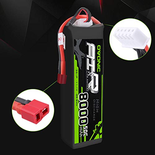 Ovonic 11.1V 50C 8000mAh Lipo Battery with Deans T Plug for RC Airplane Helicopter Car Truck Boat (2 Packs)