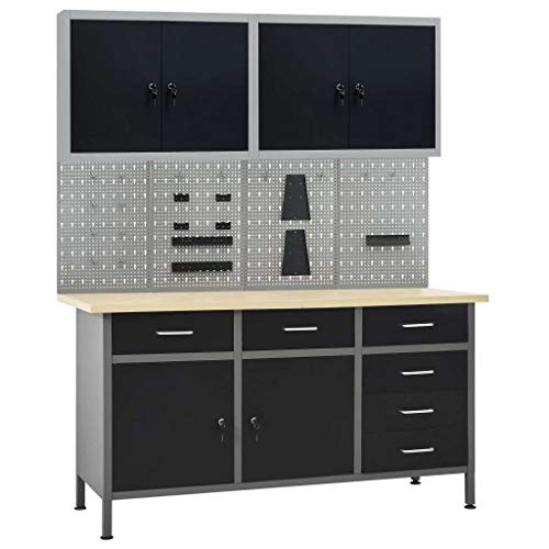 vidaXL Werkbank mit 4 Werkzeugwänden 2 Wandschränken Werkstatteinrichtung Werkzeugschrank Werktisch Montagewerkbank Hängeschrank Lochwand