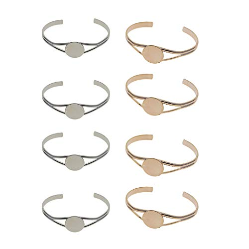 Colcolo 8pcs Women Brass Blank Bezel Open Cuff Design Bracelet Bangle Jewelry Making