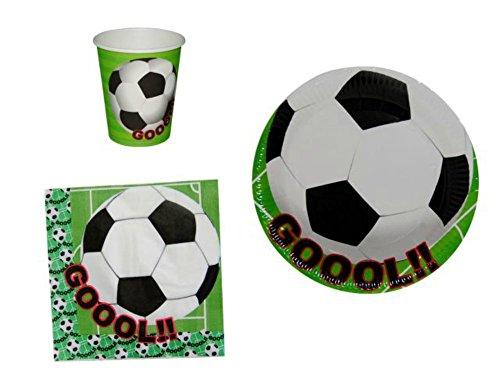 CAPRILO Lote de 6 Sets de Vajilla Fútbol (60 Vasos, 60 Platos, 60 Servilletas). Complementos. Juguetes y Regalos Baratos para Fiestas de Cumpleaños, Bodas, Bautizos, Comuniones y Eventos.