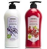 ARBORA Combo Pack of 2 Hand & Body Lotion, Lavender Plus Pomegranate Scents, Jumbo Size 25.4OZ/750ML Paraben Free Natural Ultra-Moisturizing, K-Beauty Professional Massage Lotion Original from Korea
