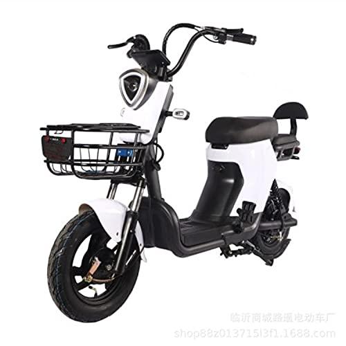 ABCD Bicicleta eléctrica de 14 Pulgadas, Bicicleta eléctrica de batería de Litio de 48V20A, Coche para Llevar 350W, Canasta de Carga, Faros de Lente, Pantalla LCD, Inicio de un botón
