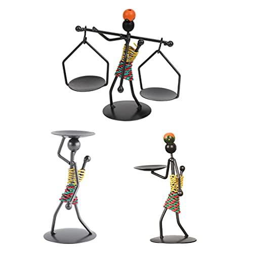 UKCOCO 3 Piezas Candelabros Candelabros de Figura Africana Candelabros de Hierro de Estilo Vintage Étnico Soportes de Luz de Té Estatua Decoración Coleccionable