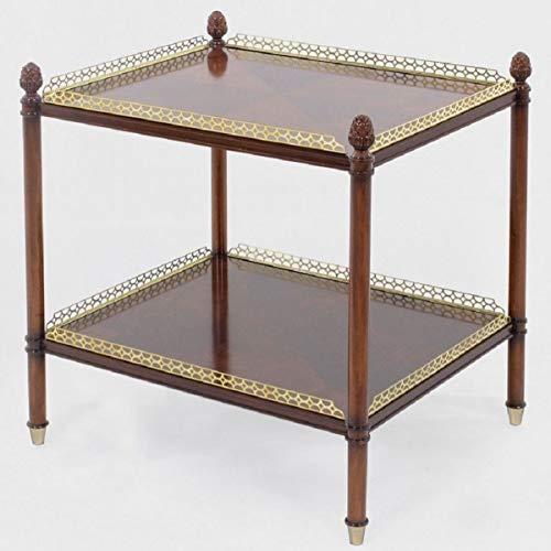 Casa Padrino Luxus Jugendstil Beistelltisch Braun/Gold/Messingfarben 69 x 57 x H. 71 cm - Edler Mahagoni Tisch - Wohnzimmer Möbel - Luxus Qualität