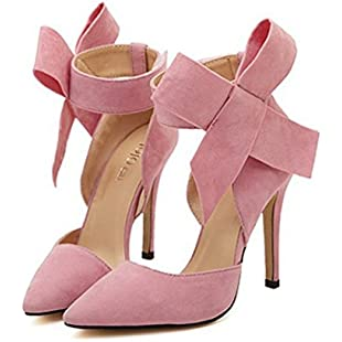 Xianshu Womens Bow Tie High Heel Pumps Party Dress Court Shoes(Pink-38)