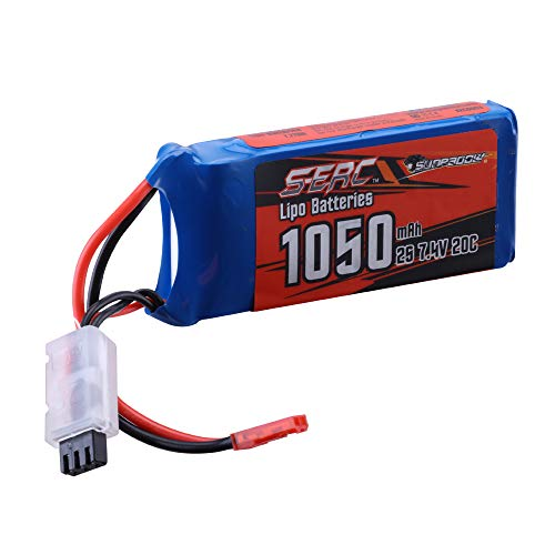 SUNPADOW 2S Lipo Battery 7.4V 20C 1050mAh with JST Plug for RC Airplane Quadcopter Helicopter Drone FPV Model Racing Hobby