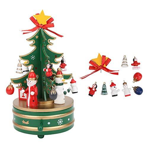 Fockety Caja de música navideña, Liviana, tamaño pequeño, Natural, Libre de contaminación, Regalos navideños duraderos, portátil para Regalar, Familia, niños(Green)
