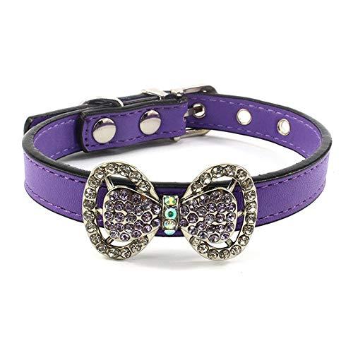 RayMinsino Collar de diamantes de imitación para mascotas Collar de gato con lazo y correa de PU para el cuello para mascotas Collar de gato de tamaño pequeño y mediano