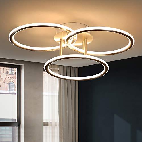 ZMH Deckenlampe LED Deckenleuchte Wohnzimmer-Modern Ringe Design Warmweiß Licht 3000K Schlafzimmerlampe 41W 3 Flammig aus Eisen und Aluminium Bürolampe Küchenlampe Flurlampe Innen Deckenbeleuchtung