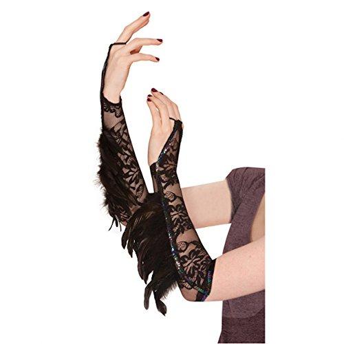shoperama Schwarze Armstulpen mit Spitze und Federn Damen Kostümzubehör Halloween Stulpen Rabe Vogel Black Swan Gothic