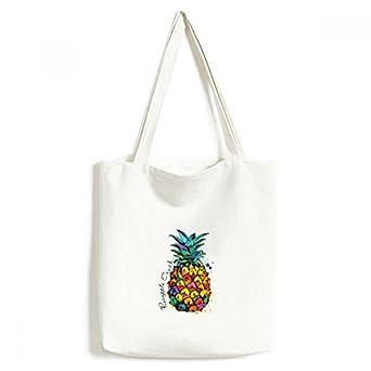 DIYthinkerStrong Color Pineapple Tropical Fruit Tote Canvas Bag Shopping Satchel Casual Handbag