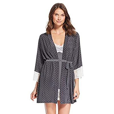 Nanette Lepore 2 Piece Womens Chemise with Robe - Nightgown and Robe Travel Pajama Set Graphite X-Large
