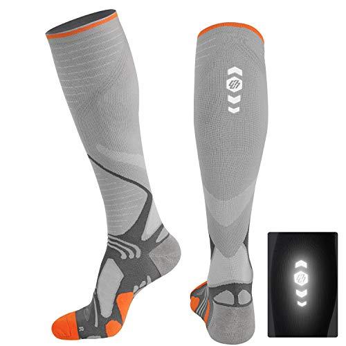 Hylaea Men & Women Compression Socks 20-30mmhg Knee High Circulation for Running Nurse Athletic Travel Pregnancy Maternity Varicose Veins, Graduated Pressure, Cushion Padded, Coolmax, Orange, Grey