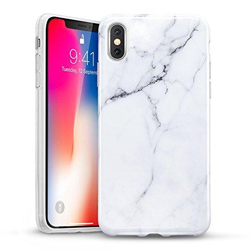 """ESR Funda para iPhone XS/X Mármol, Funda Mármol Suave TPU Gel [Ultra Fina] [Protección a Bordes y Cámara] [Compatible con Carga Inalámbrica] Enjaca Apple iPhone XS/X de 5.8"""" -Blanco"""